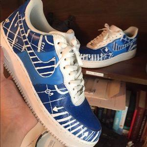 "Nike Air Force 1 ""blue print customs"""